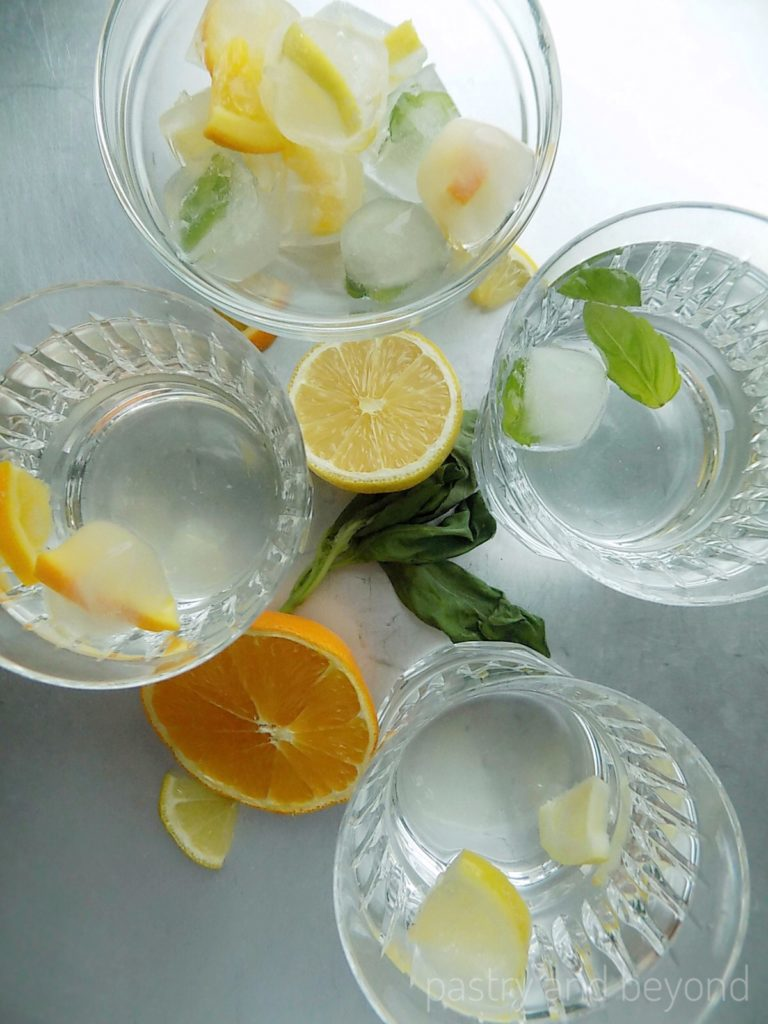 Lemon-Orange-Basil Leaves Ice Cubes - Pastry & Beyond