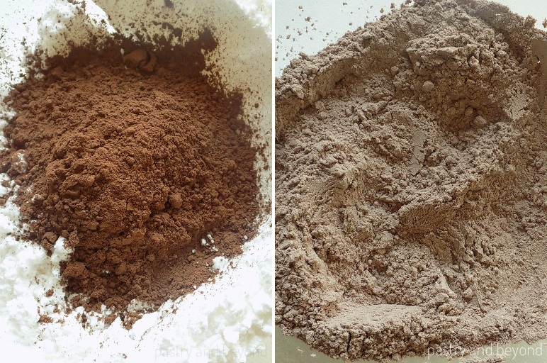 Steps of Making Flourless Hazelnut Cocoa Cookies: Combining cocoa powder and powdered sugar