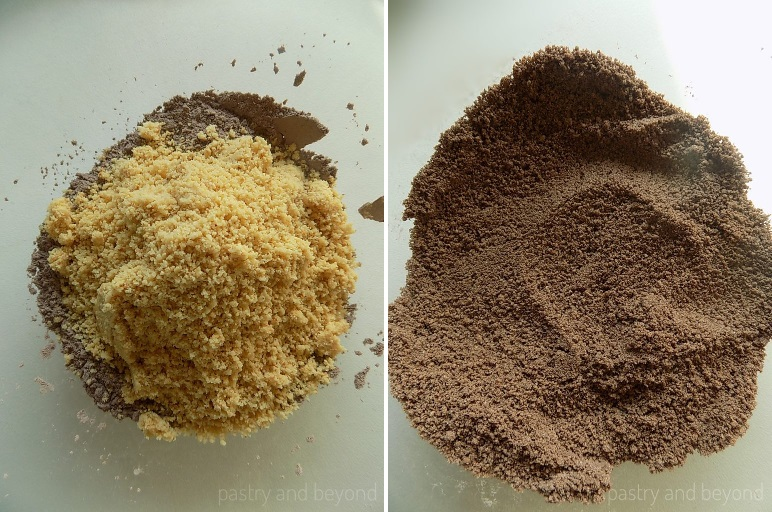 Steps of Making Flourless Hazelnut Cocoa Cookies: Mixing ground hazelnuts and cocoa mixture