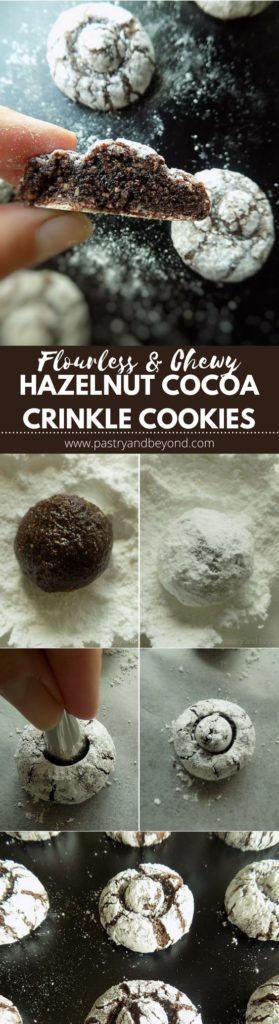 These soft and chewy flourless hazelnut cocoa cookies are very delicious. You only need 4 ingredients to make these easy gluten free cookies!