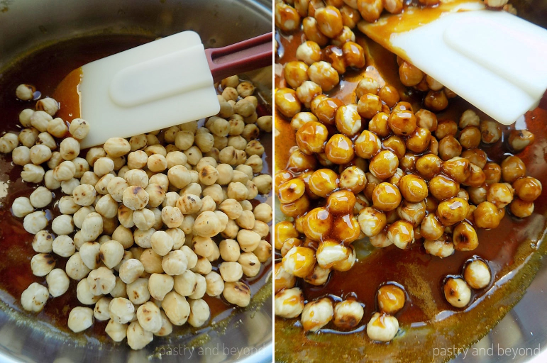Adding the hazelnuts into the caramelized sugar and mixing well with a heat proof spatula.
