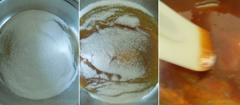 Process of caramelizing sugar.