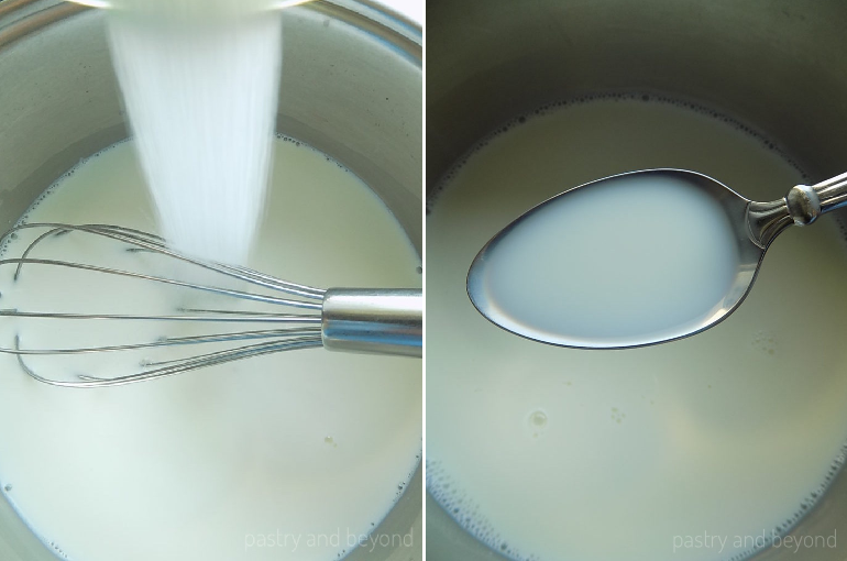 Mixing milk and sugar in a pan until the sugar dissolves.