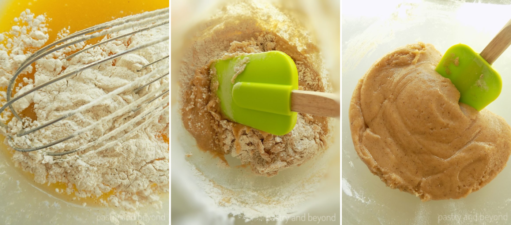 Steps of Making Soft Cinnamon Cookies: Adding in the flour mixture and mixing until combined with a spatula.