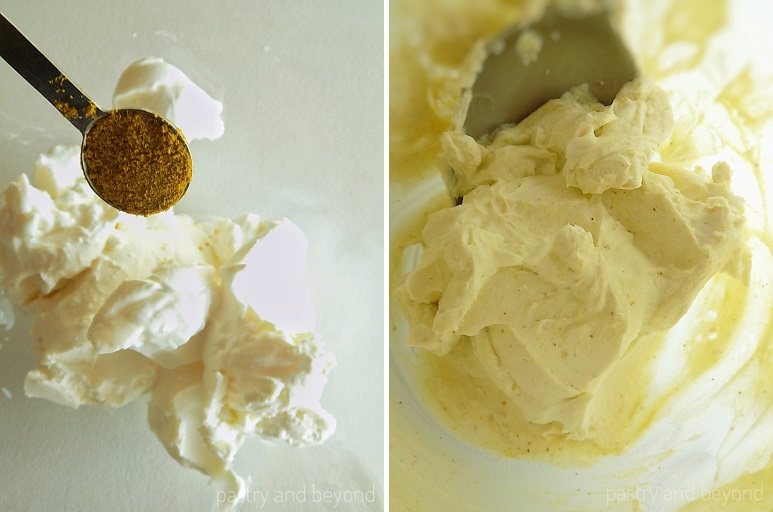 Mixing cream cheese and curry powder