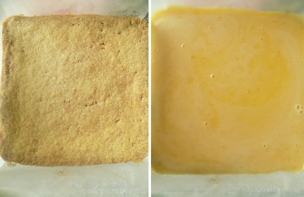 Pouring lemon curd mixture over baked crust.