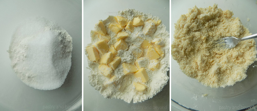 Mixing flour and sugar. Cutting the butter into the flour mixture with a fork.
